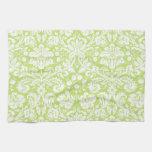 Green fancy damask pattern towel