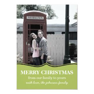 Green Fancy Design Christmas Photo Flat Cards