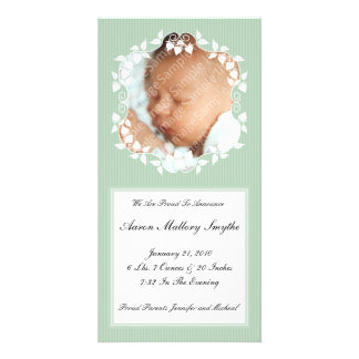 Green Fancy New Baby Photo Card