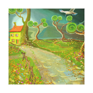 green fantastic land with a cottage canvas print