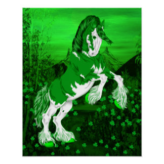 Green Fantasy Clydesdale Horse Clover Poster