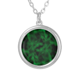 Green fantasy pattern silver plated necklace