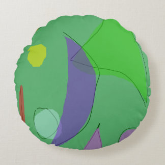 Green Farm Purple Moon Round Pillow