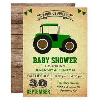 Green Farm Tractor Baby Shower Invitation