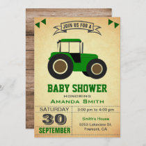 Green Farm Tractor Baby Shower Invitation