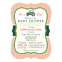 Green Farm Tractor Boy Baby Shower Invitation