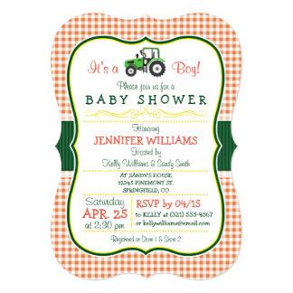 Green Farm Tractor Boy Baby Shower Invitation
