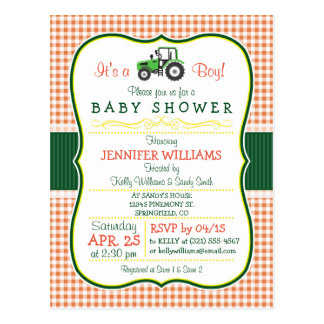 Green Farm Tractor Boy Baby Shower Invitation Postcard