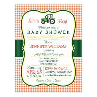 Green Farm Tractor Boy Baby Shower Invitation Postcard