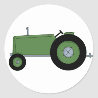Green Farm Tractor Classic Round Sticker