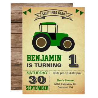 Green Farm Tractor Kids Birthday Party Invitation