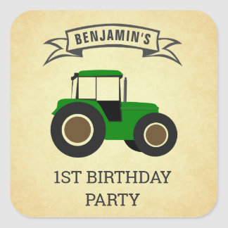 Green Farm Tractor Kids Birthday Party Square Sticker
