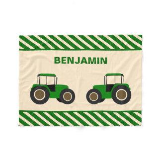Green Farm Tractor Kids Fleece Blanket