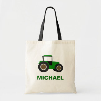 Green Farm Tractor Kids Tote Bag