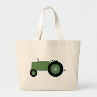Green Farm Tractor Large Tote Bag