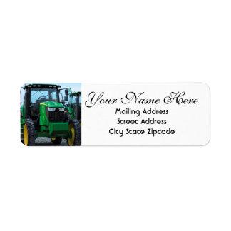 Green Farm Tractor Return Address Label
