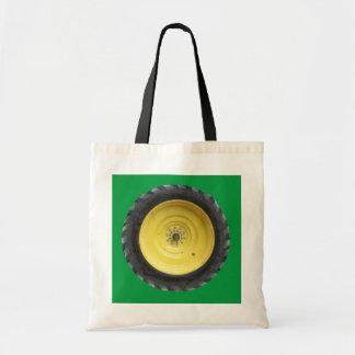 Green Farm Tractor Wheel Tote Bag