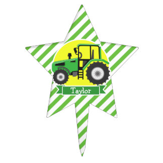Green Farm Tractor with Yellow;  Green & White Cake Toppers