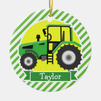 Green Farm Tractor with Yellow;  Green & White Ceramic Ornament