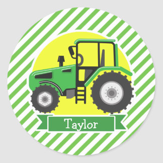 Green Farm Tractor with Yellow;  Green & White Classic Round Sticker