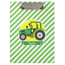 Green Farm Tractor with Yellow;  Green & White Clipboard