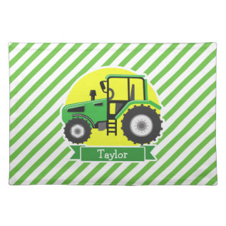 Green Farm Tractor With Yellow;  Green & White Cloth Placemat at Zazzle
