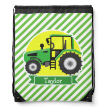 Green Farm Tractor with Yellow;  Green & White Drawstring Backpack