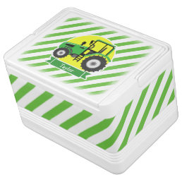 Green Farm Tractor with Yellow;  Green & White Drink Cooler