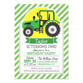 Green Farm Tractor with Yellow;  Green & White 5x7 Paper Invitation Card