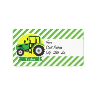 Green Farm Tractor with Yellow;  Green & White Address Label
