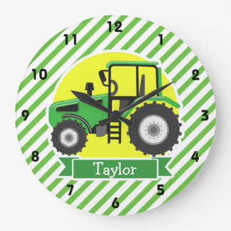 Green Farm Tractor with Yellow;  Green & White Large Clock