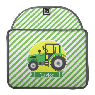 Green Farm Tractor with Yellow;  Green & White MacBook Pro Sleeves