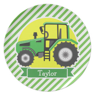 Green Farm Tractor with Yellow;  Green & White Melamine Plate