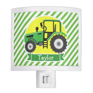 Green Farm Tractor with Yellow;  Green & White Night Light