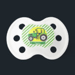 """Green Farm Tractor with Yellow;  Green &amp; White Pacifier<br><div class=""""desc"""">Cool,  colorful kid&#39;s Green Farm Tractor with Yellow;  Green &amp; White   pattern.  Perfect gift for baby,  toddler,  kids,  children,  teens,  or adults! Personalized the design by adding a child&#39;s name or custom text.  Visit our store,  Birthday Party House,  for more great customizable boy and girl products!</div>"""