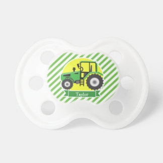 Green Farm Tractor with Yellow;  Green & White Pacifier