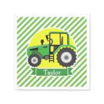 Green Farm Tractor with Yellow;  Green & White Paper Napkin