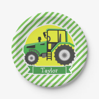 Green Farm Tractor with Yellow;  Green & White Paper Plate
