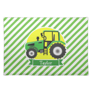 Green Farm Tractor with Yellow;  Green & White Cloth Place Mat