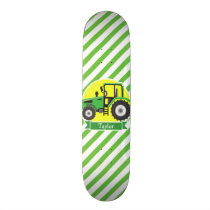 Green Farm Tractor with Yellow;  Green & White Skateboard