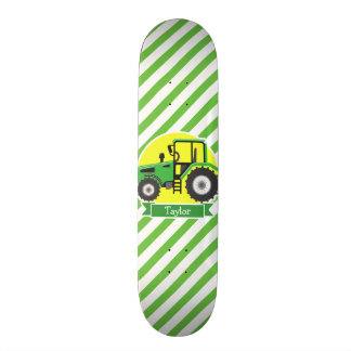 Green Farm Tractor with Yellow;  Green & White Skate Board Deck