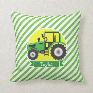 Green Farm Tractor with Yellow;  Green & White Throw Pillow