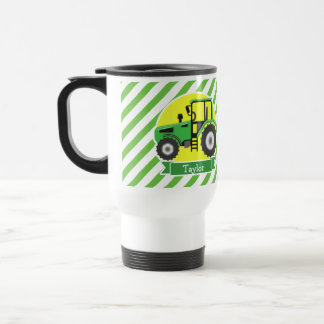 Green Farm Tractor with Yellow;  Green & White Travel Mug