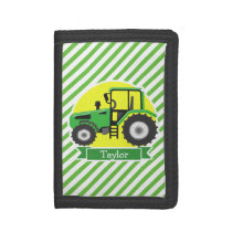 Green Farm Tractor with Yellow;  Green & White Trifold Wallet