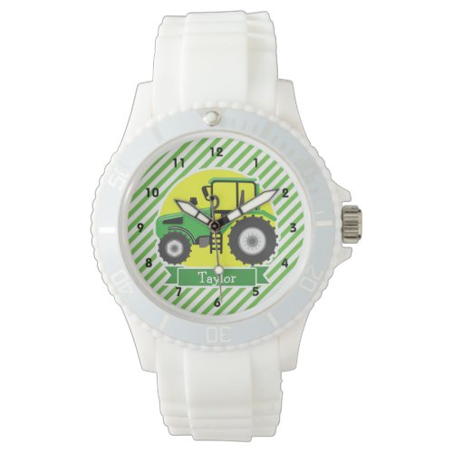 Green Farm Tractor with Yellow;  Green & White Wristwatch