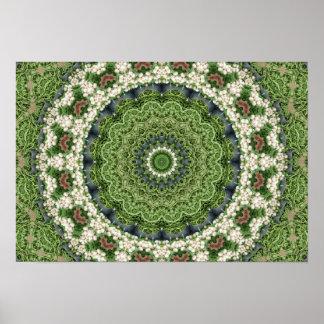 Green Farmers Market Mandala Kaleidoscope Poster
