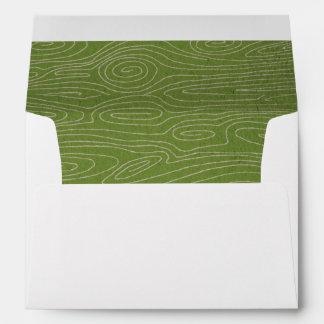 Green Faux Bois Inside Envelope