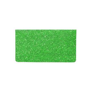 green faux glitter checkbook cover