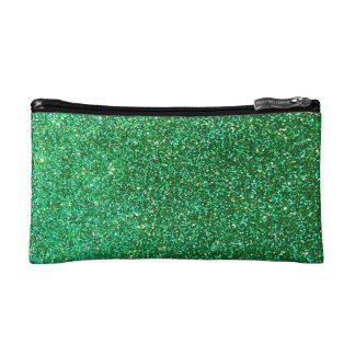 Green faux glitter graphic makeup bags