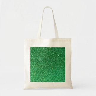Green faux glitter graphic tote bag